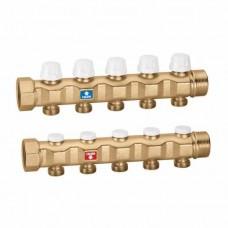 Пара коллекторов, укомплектованных вентилями-отсекателями и запорными клапанами предварительной настройки расхода 1 1/4″ 3 х 3/4″ евроконус