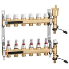 Пара латунных распределительных коллекторов с расходомерами, в сборе 3 х 3/4″